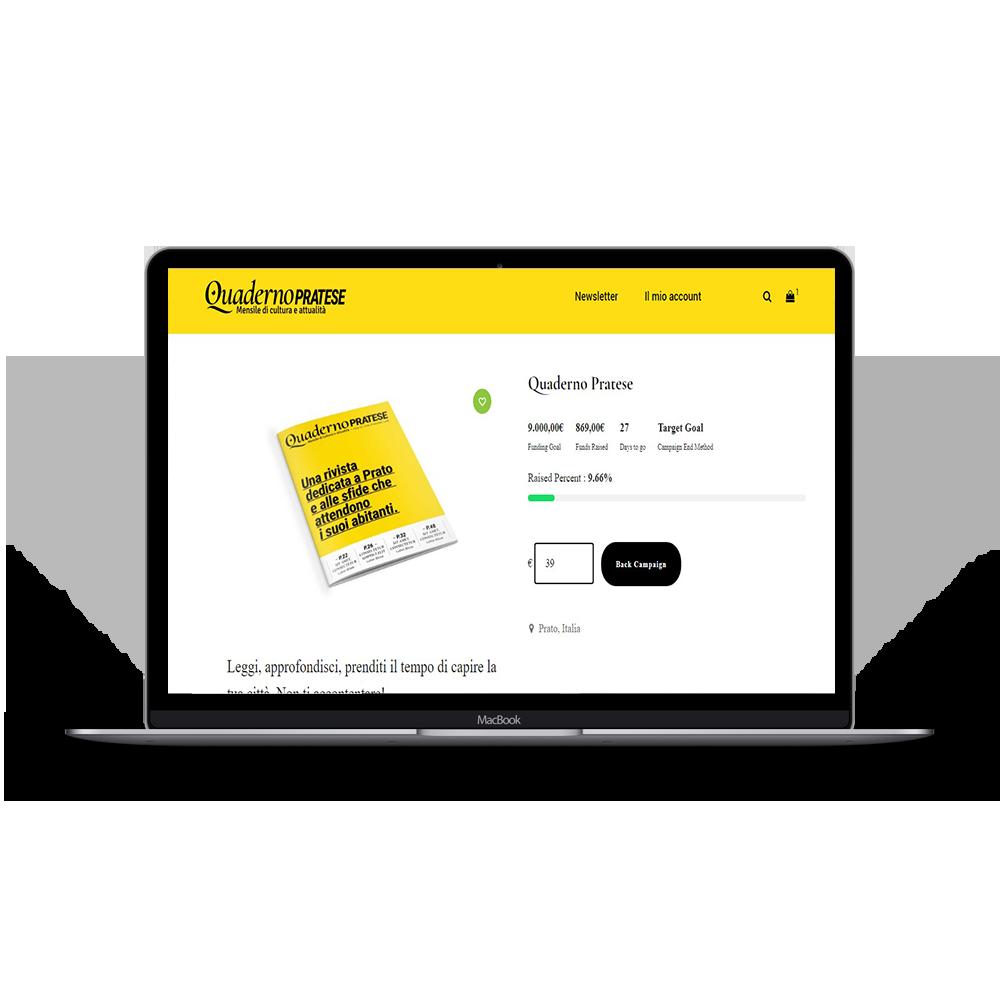 """creazione sito di ecommerce e crowdfunding della rivista cartacea """"Quaderno pratese""""."""