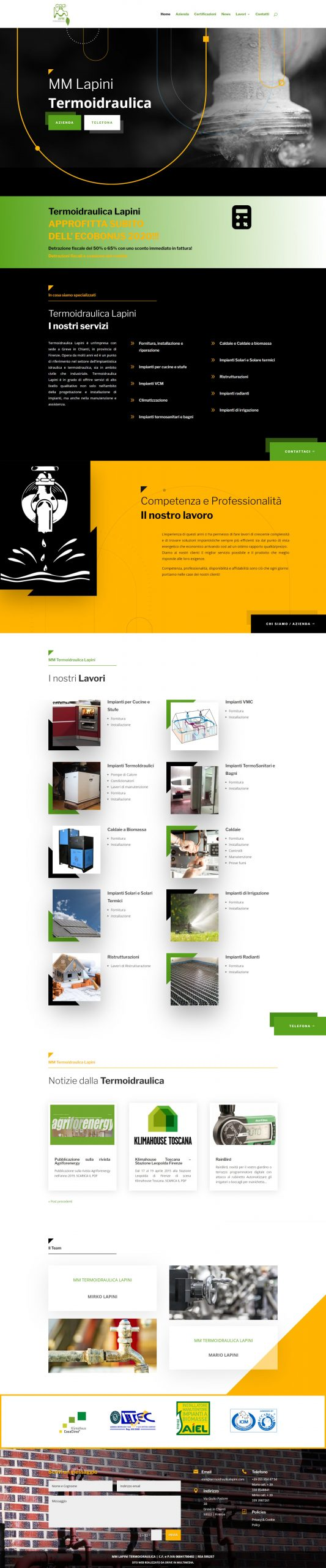 screenshot sito realizzato - termoidraulica Lapini