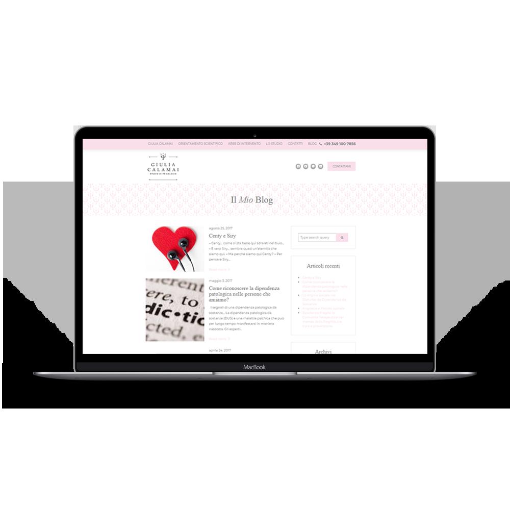 immagine sito Giulia Calamai studio per portfolio web di Drive In multimedia, sviluppo intero sito web responsive, creazione di contenuti, sito web responsive