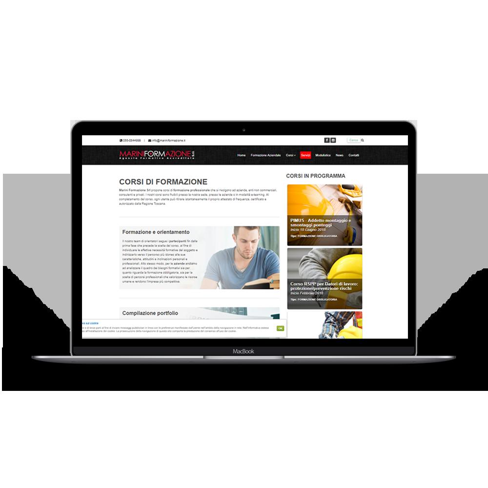 immagine portfolio web del sito Marini formazione, aggiornamenti e gestione siti web a Prato. Realizzazione siti web Prato.