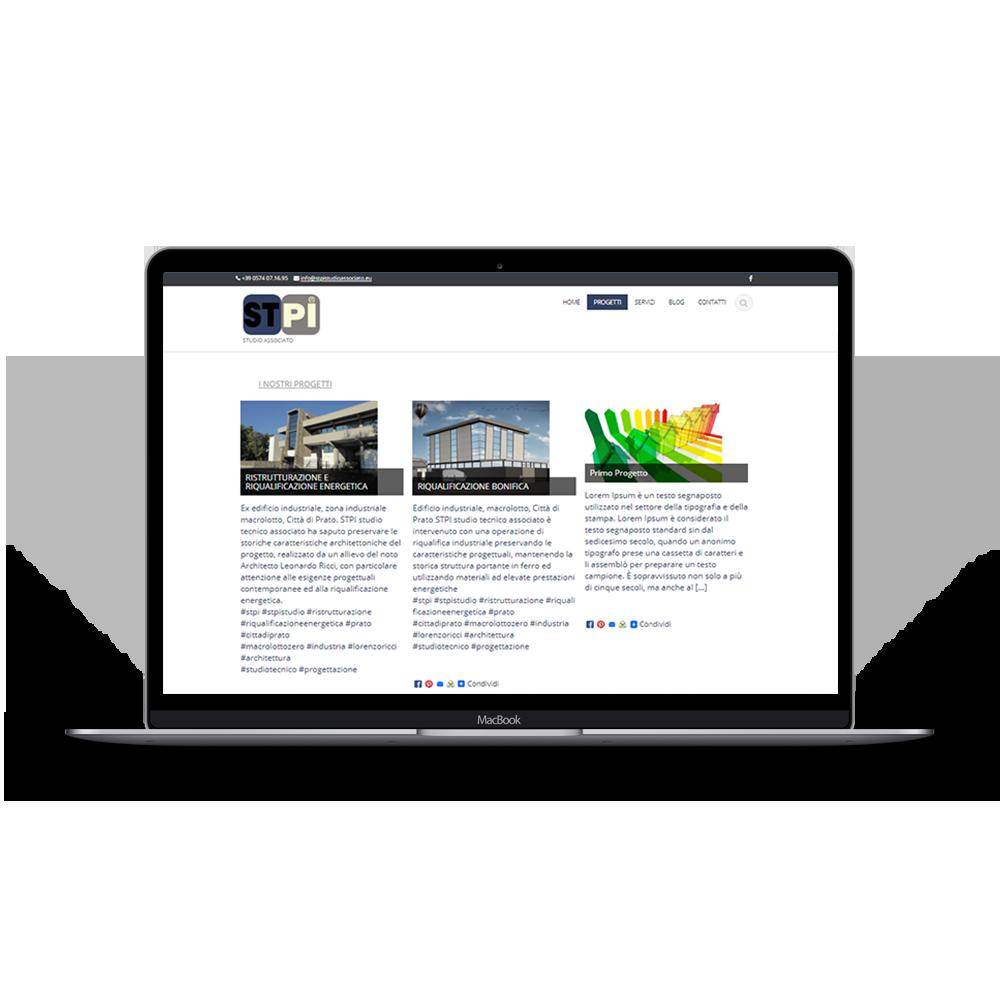 immagine sito stpi per portfolio web di drive in multimedia, gestione sito web, aggiornamento dei contenuti siti web. Wordpress