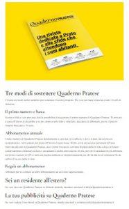 sito di crowdfunding per la raccolta fondi della rivista Quaderno pratese
